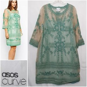 Asos Curve Mint Green Embroidered Lace Mesh Dress